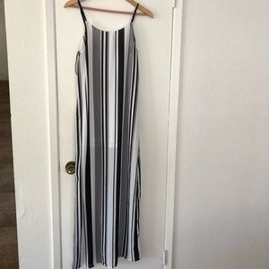 Black and white long striped dress